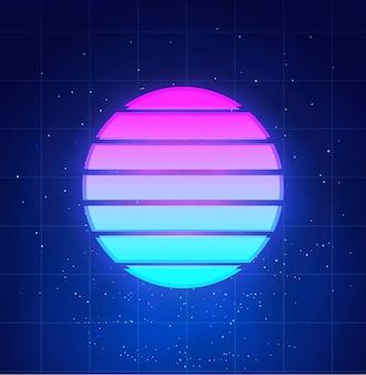 Retrò sfondo futuristico tramonto. sole al neon astratto nello stile del cyberpunk su cielo notturno con le stelle e le nuvole, vaporwave, illustrazione di musica del synthwave.