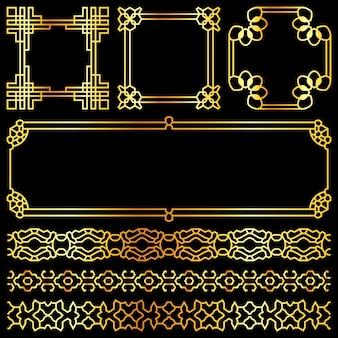 Retro strutture e bordi asiatici di vettore dorato messi