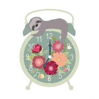 Retro sveglia con il bradipo di sonno sveglio isolato su fondo bianco.