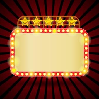 Retro tabellone per le affissioni con luci al neon