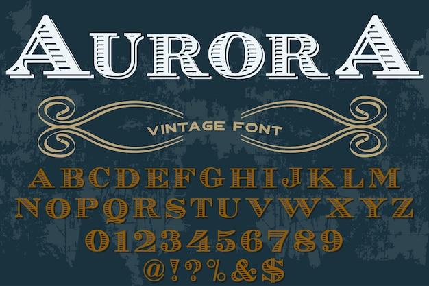 Retro tipografia etichetta design aurora