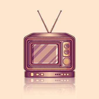 Retro vecchia illustrazione d'annata di vettore della televisione di tv
