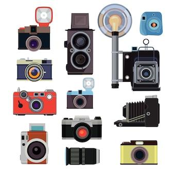 Retro vecchie macchine fotografiche e simboli per i fotografi. immagini piatte vettoriali. illlustration dell'attrezzatura digitale del fotografo, fuoco della foto