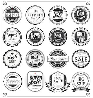 Retro vettore di raccolta di distintivi ed etichette vintage
