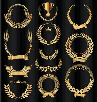 Retro vettore dorato d'annata delle collezioni delle corone dell'alloro
