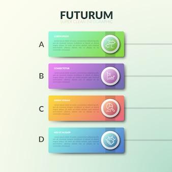 Rettangoli a quattro lettere disposti in fila verticale con caselle di testo e simboli di linea sottile all'interno. elenco dei servizi forniti dal concetto di società.