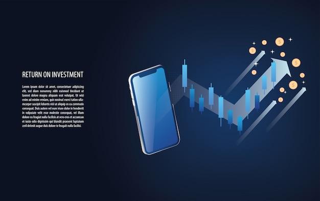 Return on investment roi grafico e grafico aumentano con il segnale di candela forex