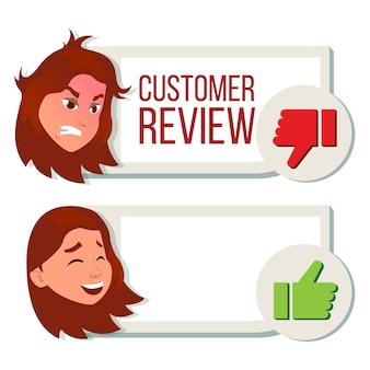 Revisione cliente, recensione positiva, recensione negativa.