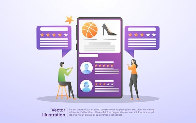 Revisione cliente, testimonianze cliente, valutazione recensione cliente o cliente, livello di soddisfazione e critica