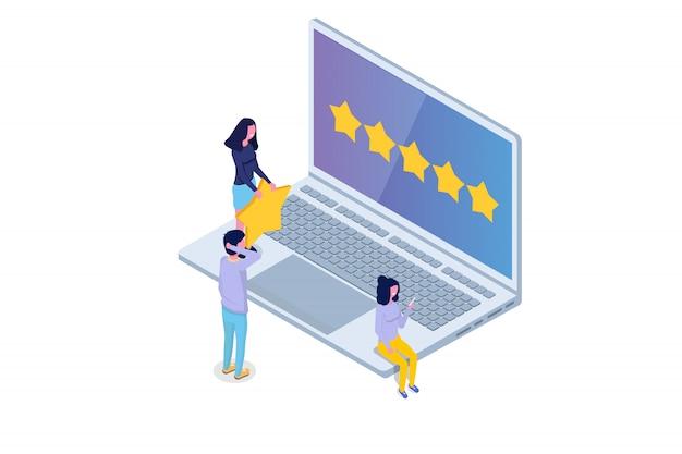 Revisione del cliente, valutazione dell'usabilità, feedback, concetto isometrico del sistema di valutazione. illustrazione vettoriale
