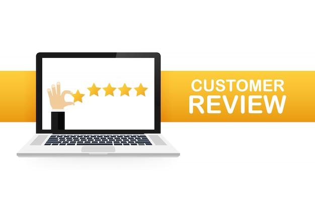Revisione del cliente, valutazione dell'usabilità, feedback, sistema di valutazione isometrico. illustrazione