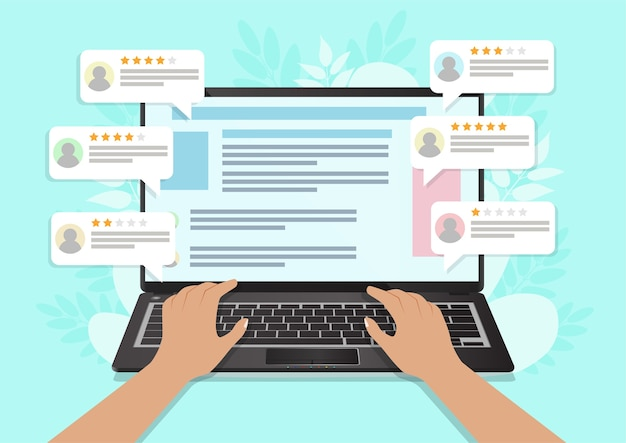 Revisione, feedback, discorso bolla di valutazione sul laptop. illustrazione