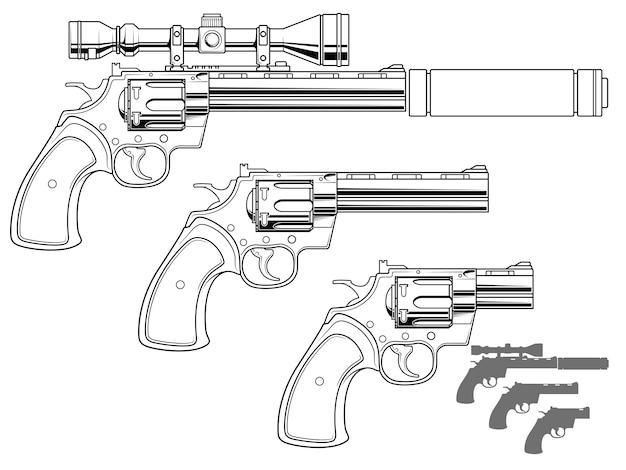 Revolver grafico con mirino ottico