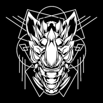 Rhino linea astratta illustrazione di arte