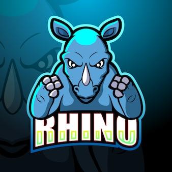 Rhino mascotte esport logo design