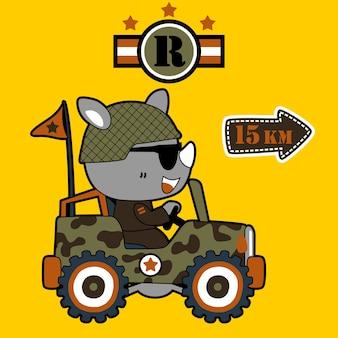 Rhino sul cartone animato di auto militare