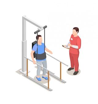 Riabilitazione di fisioterapia, caratteri di medico e paziente con attrezzatura fisioterapica, illustrazione