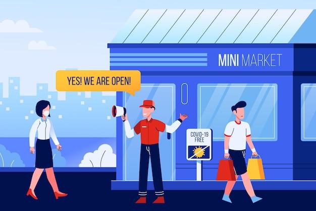 Riaprire l'economia dopo il mini market di coronavirus