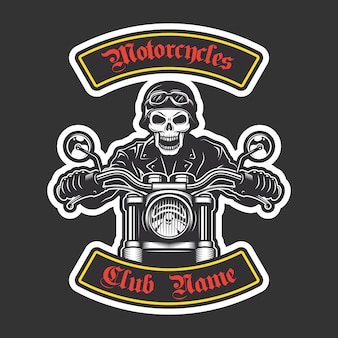 Ricamo biker classico per giacca. tema motociclistico