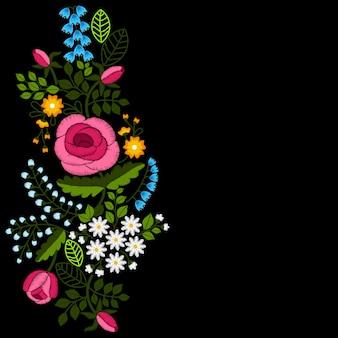 Ricamo di rose e fiori di campo su sfondo nero.