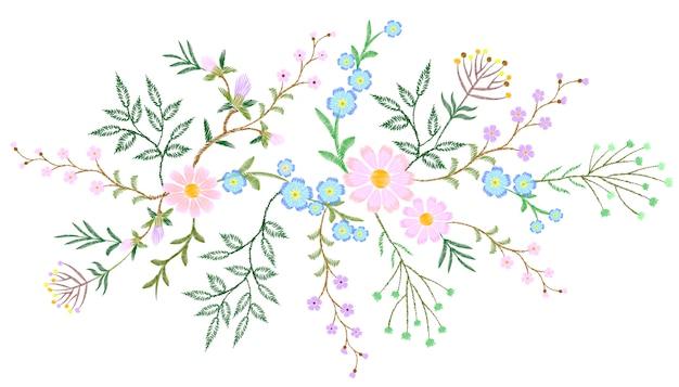 Ricamo in pizzo bianco motivo floreale piccoli rami di erbe selvatiche
