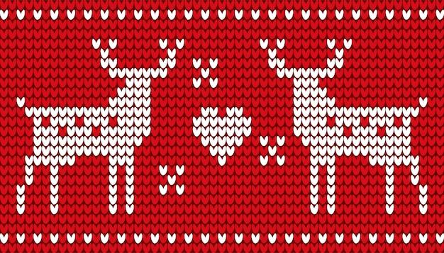 Ricamo rosso di cervi e cuore per natale