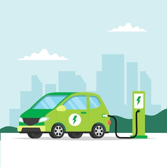 Ricarica auto elettrica in città.