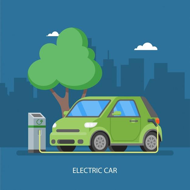 Ricarica auto elettrica presso la stazione di ricarica. illustrazione in stile piatto. sfondo di concetto di trasporto eco.