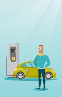 Ricarica di illustrazione vettoriale auto elettrica.