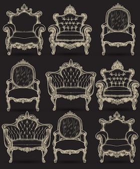 Ricca collezione di intricate strutture della poltrona barocca