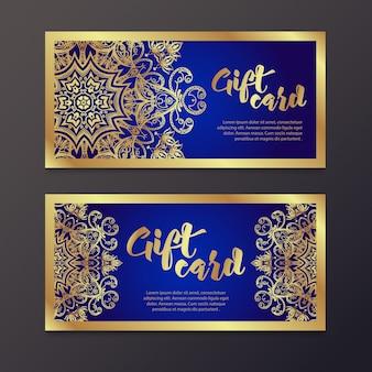 Ricchi certificati regalo in oro in stile indiano.