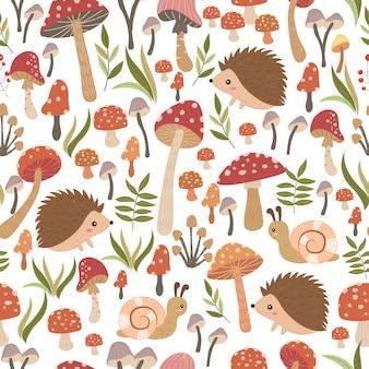 Riccio e funghi seamless pattern. design senza cuciture per bambini.