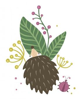 Riccio piatto disegnato a mano di vettore con bacche, foglie e clipart coccinella. divertente scena autunnale con animale spinoso divertendosi. illustrazione di bosco carino