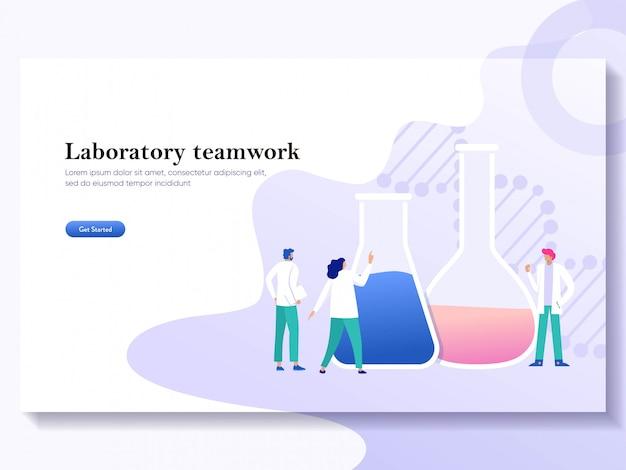Ricerca del laboratorio di lavoro di squadra con il concetto dell'illustrazione del tubo di vetro di scienza di scienza, liquido pormic della gente di por