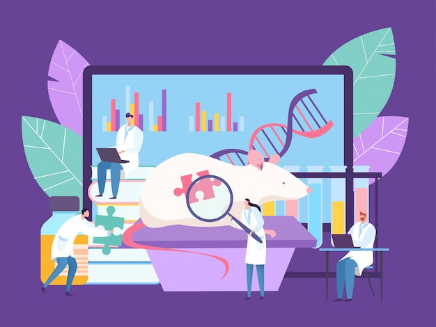 Ricerca di ingegneria genetica bilogica al laboratorio, illustrazione. il medico conduce esperimenti con il topo, studia i geni del dna.