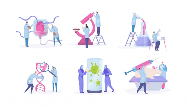 Ricerca di laboratorio dello scienziato, concetto con i personaggi dei cartoni animati minuscoli della gente, insieme isolato su bianco, illustrazione