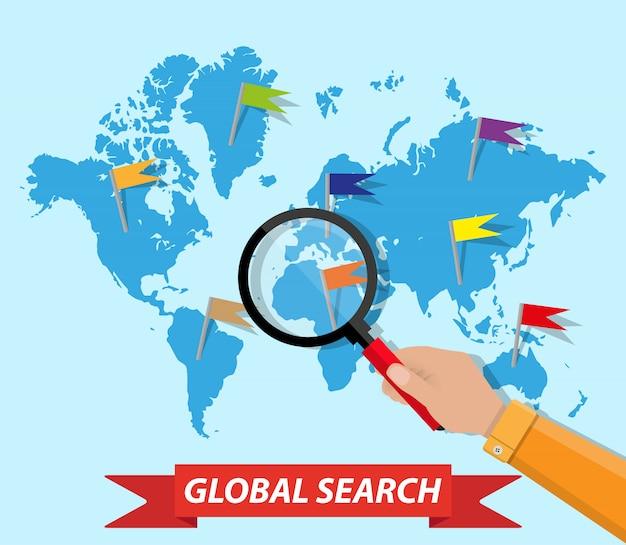 Ricerca globale, mappa del mondo, mano, lente d'ingrandimento