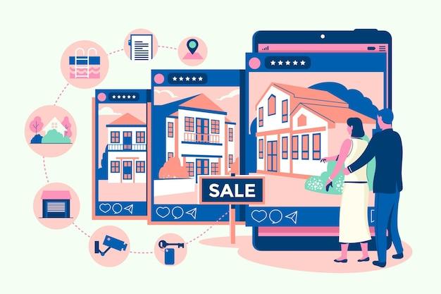 Ricerca immobiliare di design piatto con gadget