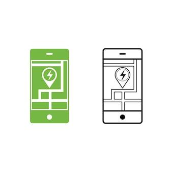 Ricerca mobile dell'icona della stazione di servizio dell'automobile elettrica