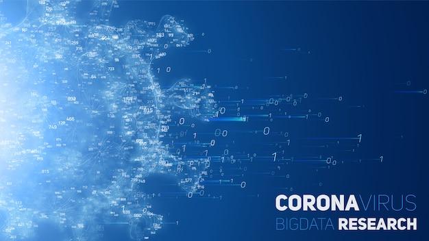 Ricerca sui big data della malattia di coronavirus. illustrazione 3d del virus e della nuvola di dati. analisi virologica futuristica della sars. concetto di exploraion di agenti patogeni.