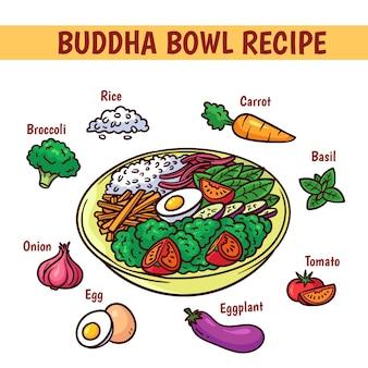 Ricetta del buddha con uova e verdure