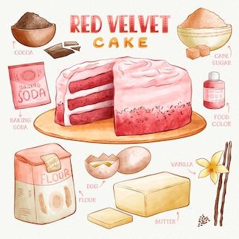 Ricetta deliziosa dell'acquerello della torta rossa del velluto
