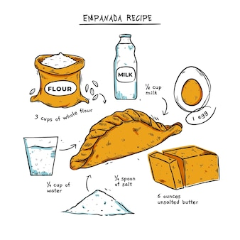 Ricetta empanada disegnata a mano