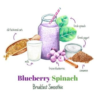 Ricetta sana del frullato della prima colazione degli spinaci del mirtillo