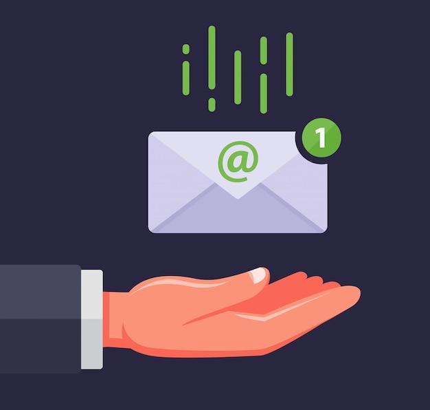 Ricevere un'e-mail. la busta cade nel palmo della persona. messaggio importante. illustrazione.