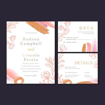 Ricevimento di matrimonio fiori con foglie color pastello, inchiostro di colore dolce