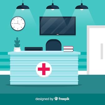 Ricevimento ospedaliero moderno con design piatto
