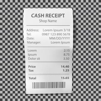 Ricevuta del negozio realistica, fattura di pagamento cartacea