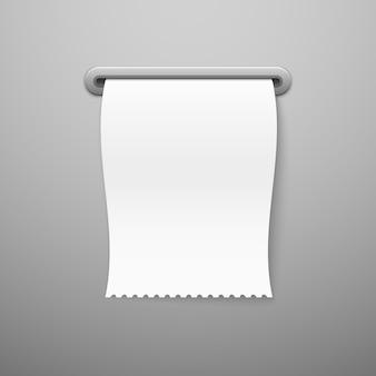 Ricevuta di vendita. modello di assegno di carta bianca stampare ricevute di acquisto realistiche della fattura in bianco, biglietto al dettaglio di pagamento del negozio di paga
