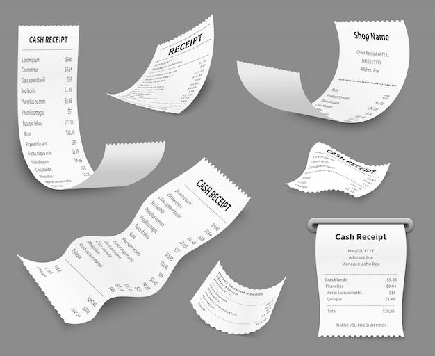 Ricevute cartacee. fattura dell'importo della stampa della ricevuta, controllo del costo della scelta dell'acquisto del budget, documento al dettaglio in contanti, set di acquisto a pagamento